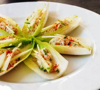 ... Hors D'oeuvres: Tuna Tartare With Thai Curry on California Endive
