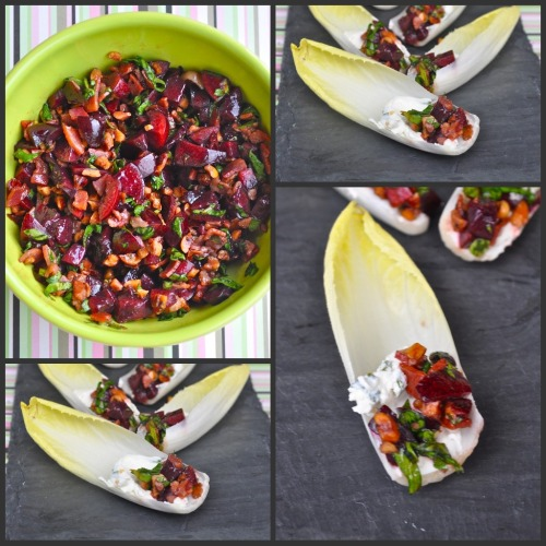 Endive spears filled with fresh cherry salsa