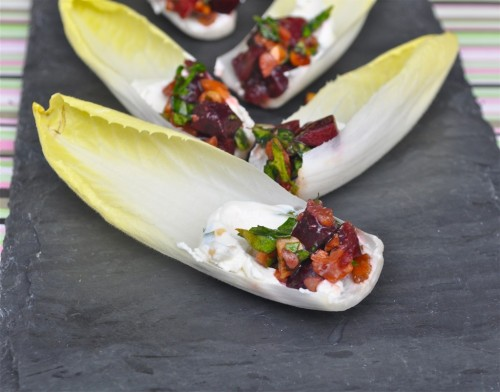 Endive Spears Filled with Goat Cheese and Fresh Cherry Relish