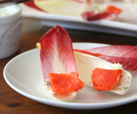 Endive with homemade boursin and smoked salmon