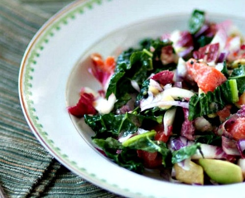 Endive, Kale, and Smoked Salmon Salad with Avocado and Pink Grapefruit