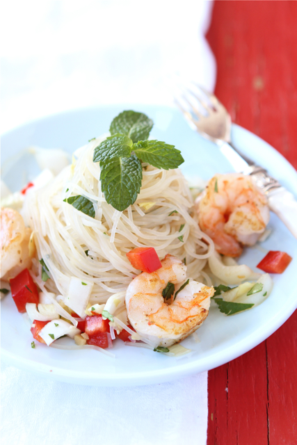 Rice Noodle Salad with Endive, Shrimp & Soy-Ginger Dressing