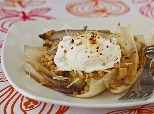 Sautéed Endive with Toasted Israeli Couscous and Poached Eggs