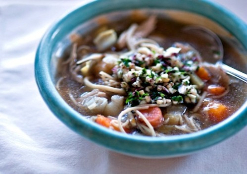 chicken, endive, and root vegetable soup with endive parsley pesto