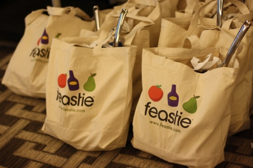 Swag bags lined up for Eat Write Retreat. Photo courtesy of Daphne Domingo.