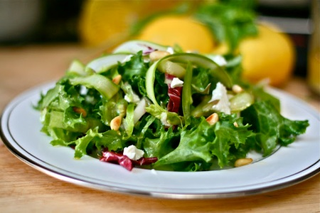 Escarole, Endive, Radicchio & Shaved Asparagus Salad from Jaymee of E is for Eat